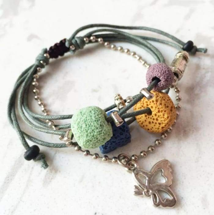 Lava Stone Essential Oil Bracelet - Green Lava Charms