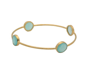 Milky Green Chalcedony Bangle