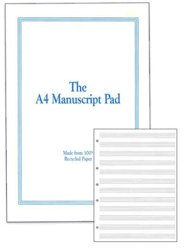 MANUSCRIPT PAD RECYCLED A4 50PP 12 STAVE