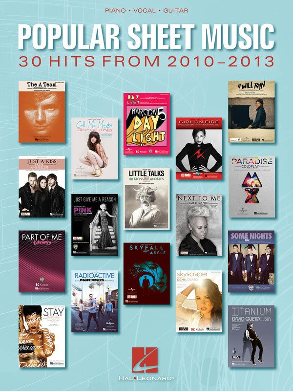 POPULAR SHEET MUSIC 30 HITS FROM 2010 - 2013 PVG