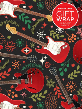Gift Wrap Paper - Christmas Red Guitar Theme