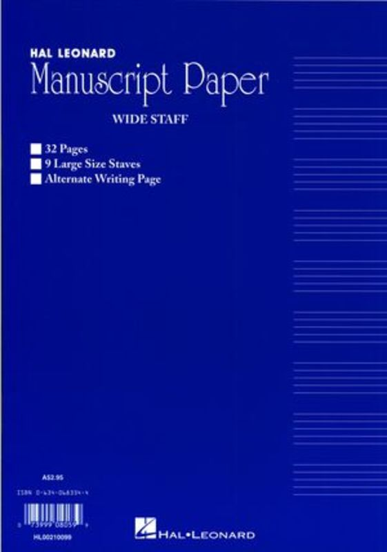 WIDE STAFF MANUSCRIPT 32PG BLUE 9 STAVE INTERLEAVED