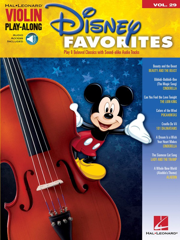 DISNEY FAVORITES VIOLIN PLAYALONG V29 BK/OLA