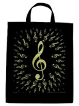 Extra Large Totebag Bursting G Clefs Black