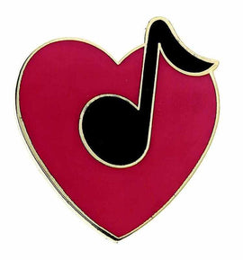 Mini Pin Heart With 8Th Note Asstd Colors