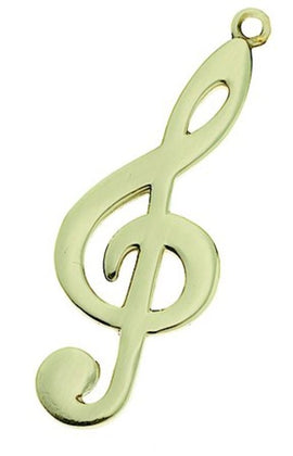 Keychain G Clef Polished Brass