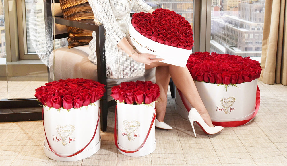Red roses in a heart-shaped box that last for over one year. Kardashian flowers by Jardin Fleurs features long-lasting roses in a Parisian inspired hat box. For delivery on Valentine's Day