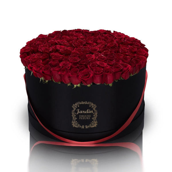 150 Fresh Roses in a Large Black Hatbox
