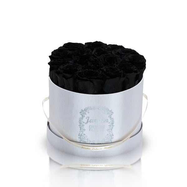 16 Black Long Lasting Roses in White Hatbox
