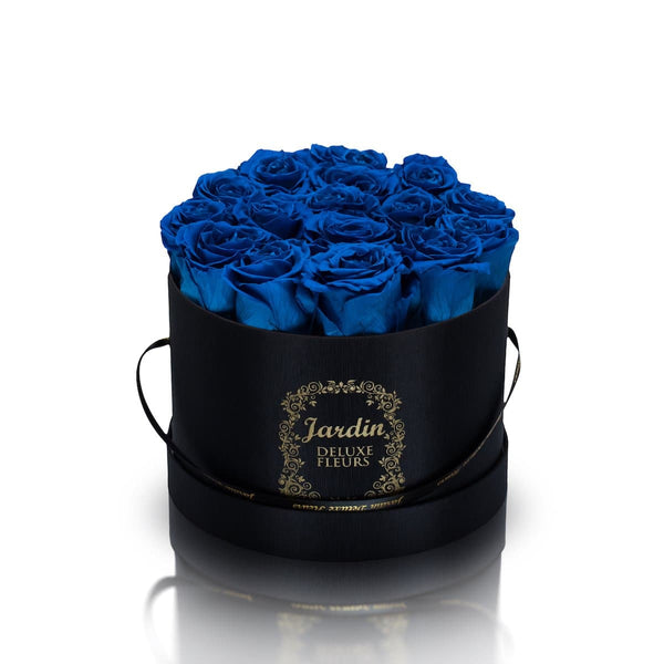 16 Blue Long Lasting Roses in Black Hatbox