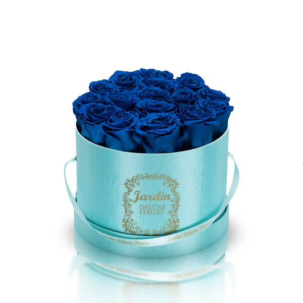 16 Blue Long Lasting Roses in Tiffany Blue Hatbox