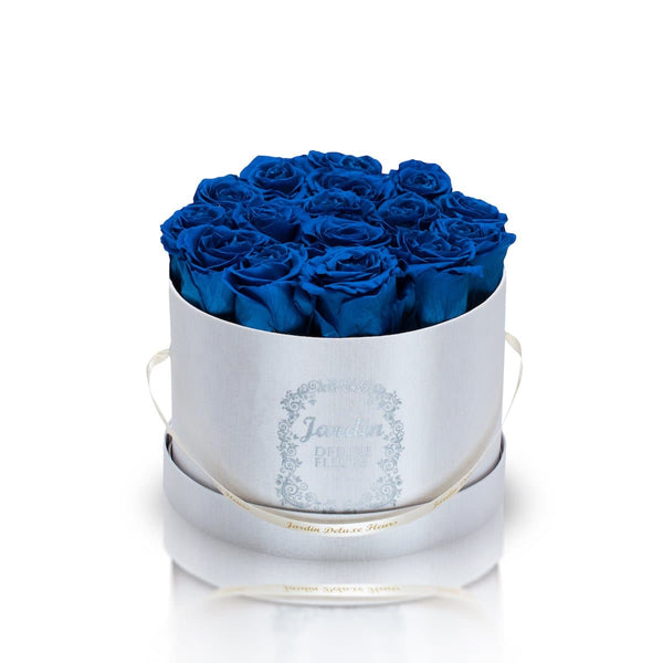 16 Blue Long Lasting Roses in White Hatbox