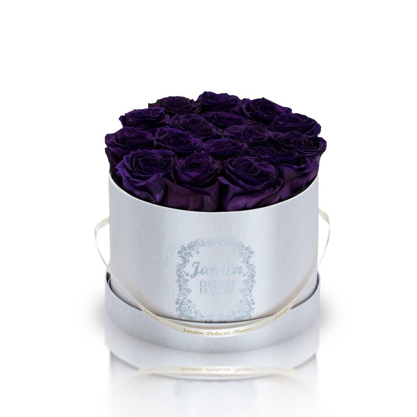 16 Dark Purple Long Lasting Roses in White Hatbox