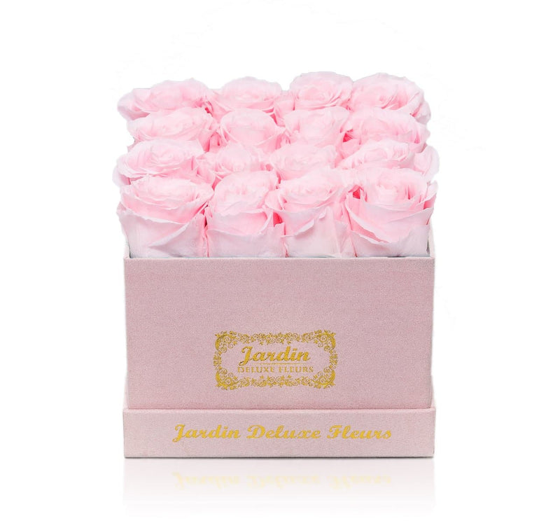16 Long Lasting Roses in Square Pink Box