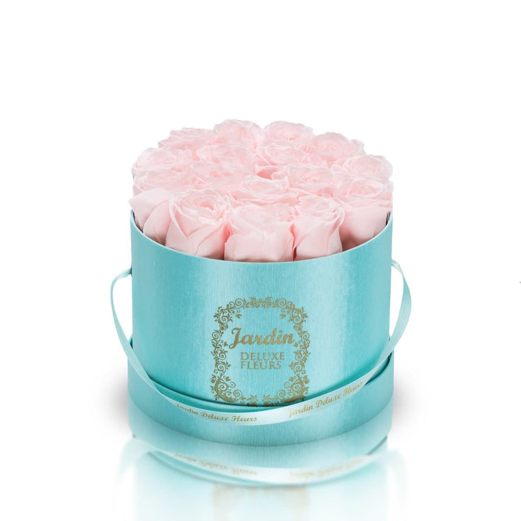 16 Light Pink Long Lasting Roses in Tiffany Blue Hatbox
