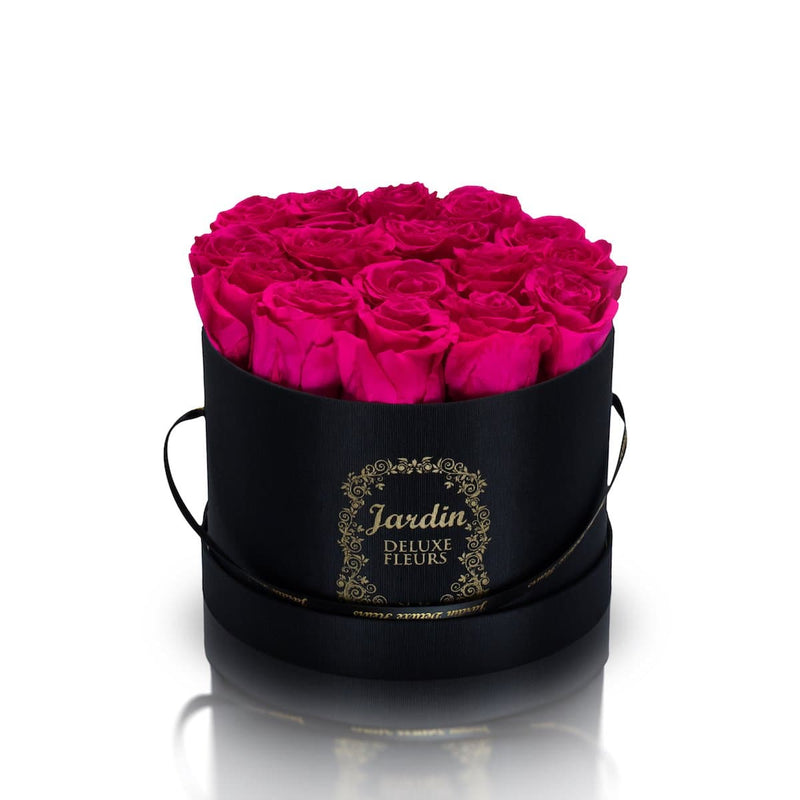 16 Pink Long Lasting Roses in Black Hatbox