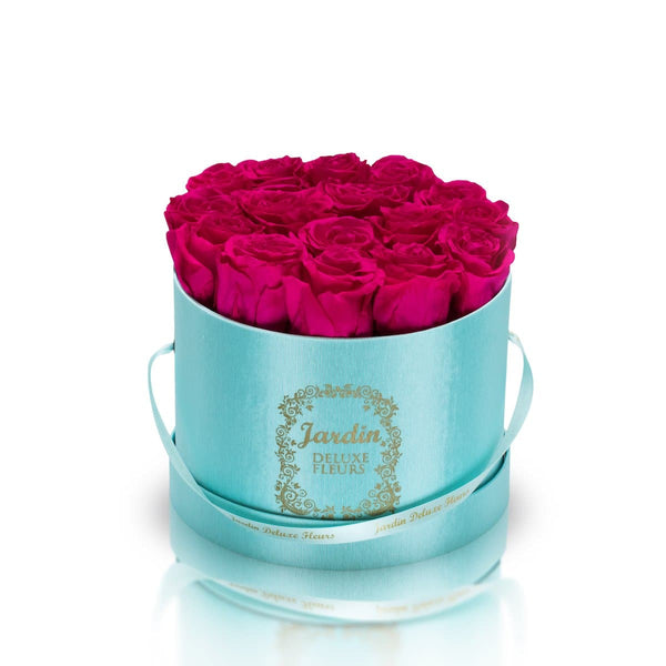 16 Pink Long Lasting Roses in Tiffany Blue Hatbox