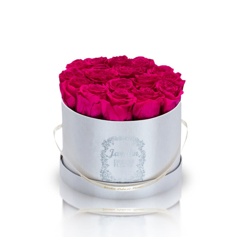 16 Pink Long Lasting Roses in White Hatbox
