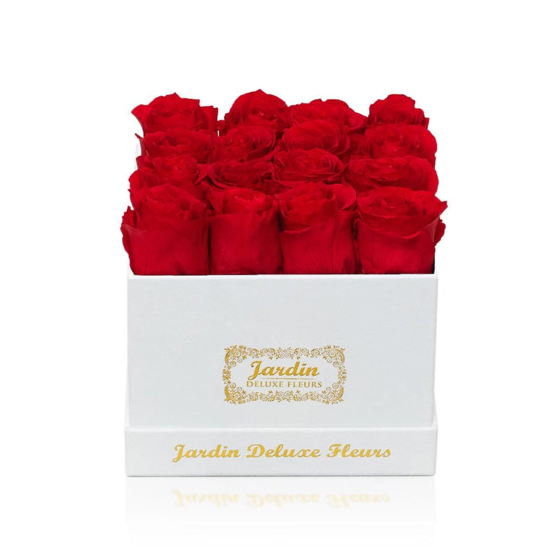 16 Long Lasting Roses in Square White Hatbox