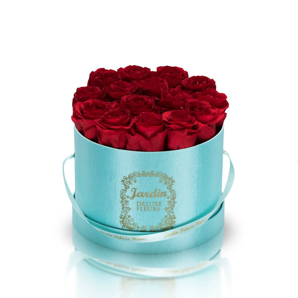 16 Red Long Lasting Roses in Tiffany Blue Hatbox
