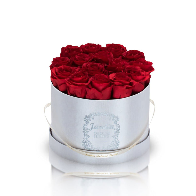 16 Red Long Lasting Roses in White Hatbox