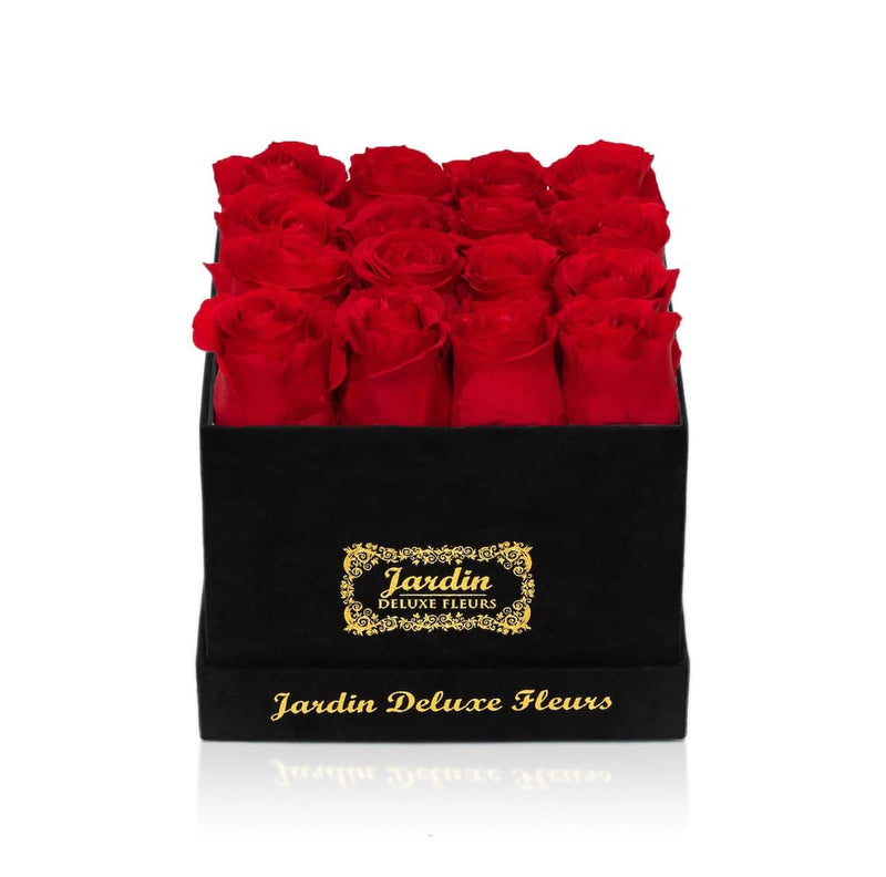 16 Long Lasting Roses in Square Black Hatbox