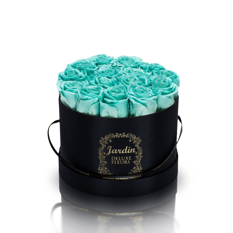 16 Tiffany Blue Long Lasting Roses in Black Hatbox