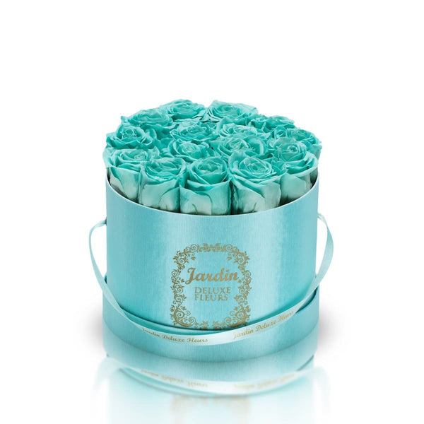 16 Tiffany Blue Long Lasting Roses in Tiffany Blue Hatbox