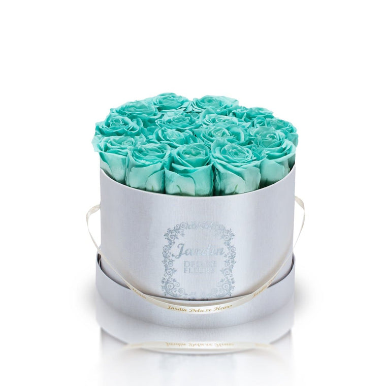 16 Tiffany Blue Long Lasting Roses in White Hatbox