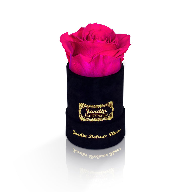 1 Pink Long Lasting Rose in Black Suede Hatbox