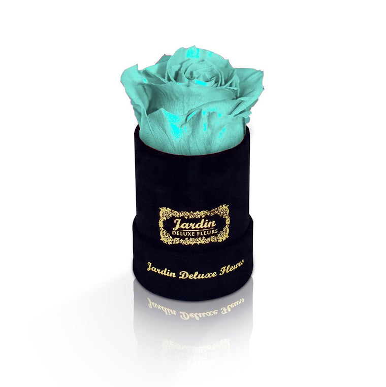 1 Tiffany Blue Long Lasting Rose in Black Suede Hatbox