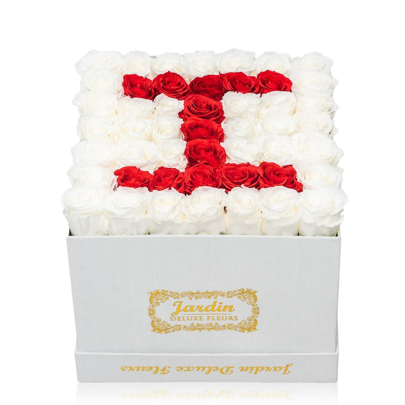 42-49 Custom Letter Long Lasting Roses in White Box