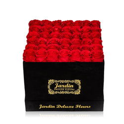42-49 Long Lasting Roses in Black Hatbox