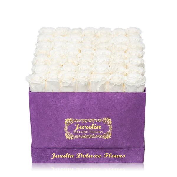 42 White Long Lasting Roses in Purple Hatbox