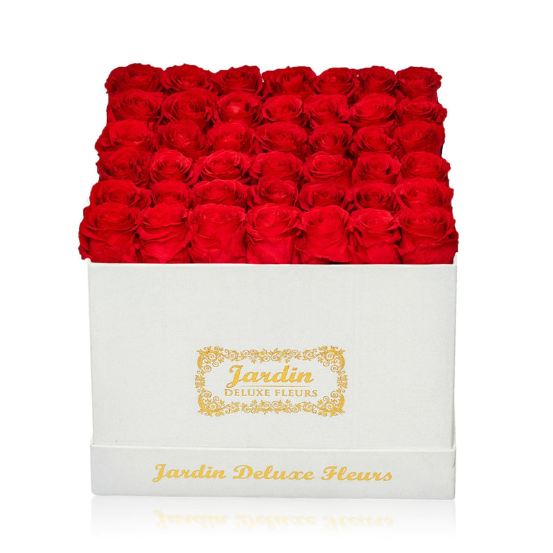 42 Long Lasting Roses in White Hatbox