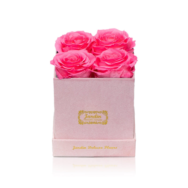 4 Long Lasting Roses in Pink Box