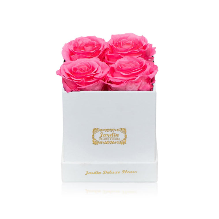 4-6 Pink Long Lasting Roses in White Hatbox