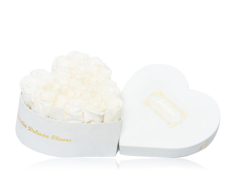 20-24 Long Lasting Roses in White Heart Box