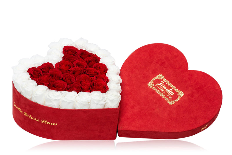 40-45 Long Lasting Roses in Red Heart Box