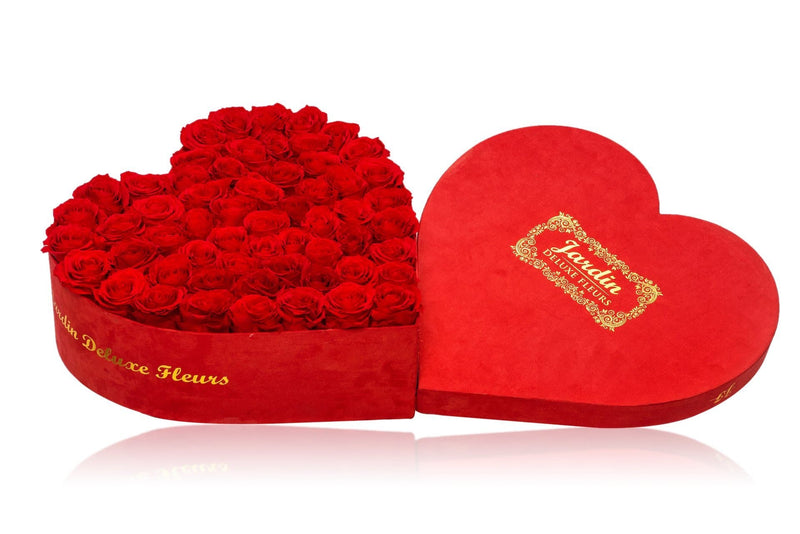 75-80 Long Lasting Roses in Red Heart Box