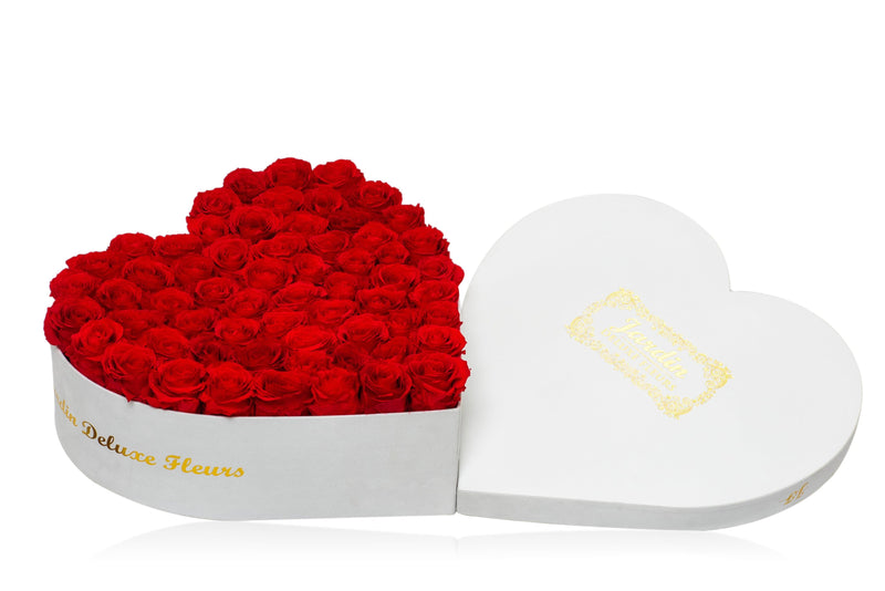 75-80 Red Long Lasting Roses in White Heart Box