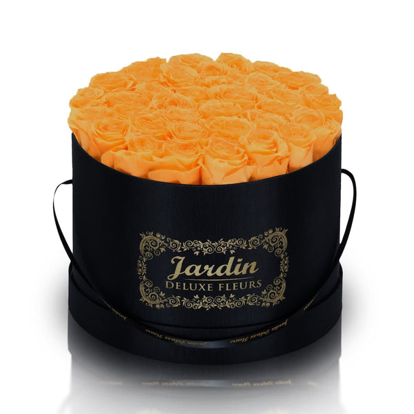 36 Orange Long Lasting Roses in Black Hatbox