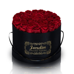 36 Red Long Lasting Roses in Black Hatbox