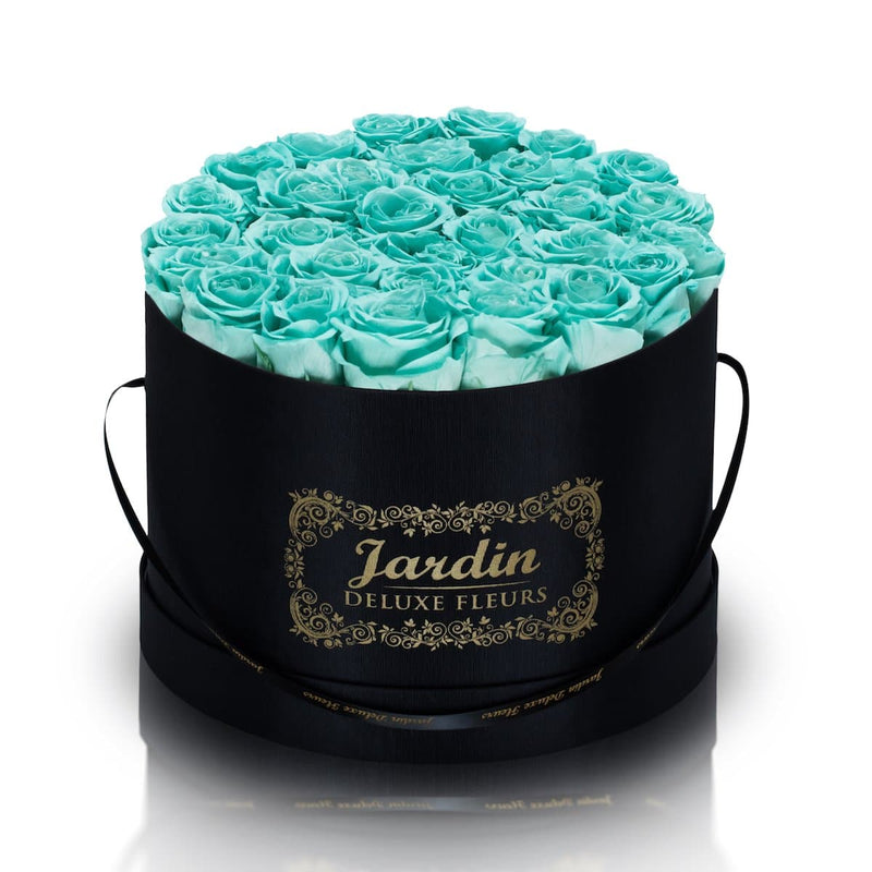 36 Tiffany Blue Long Lasting Roses in Black Hatbox