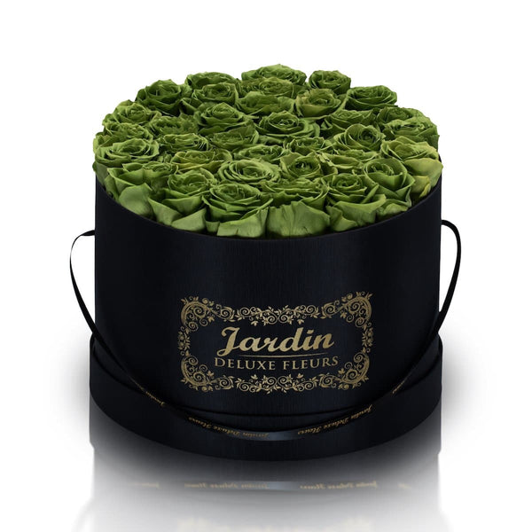 36 Green Long Lasting Roses in Black Hatbox