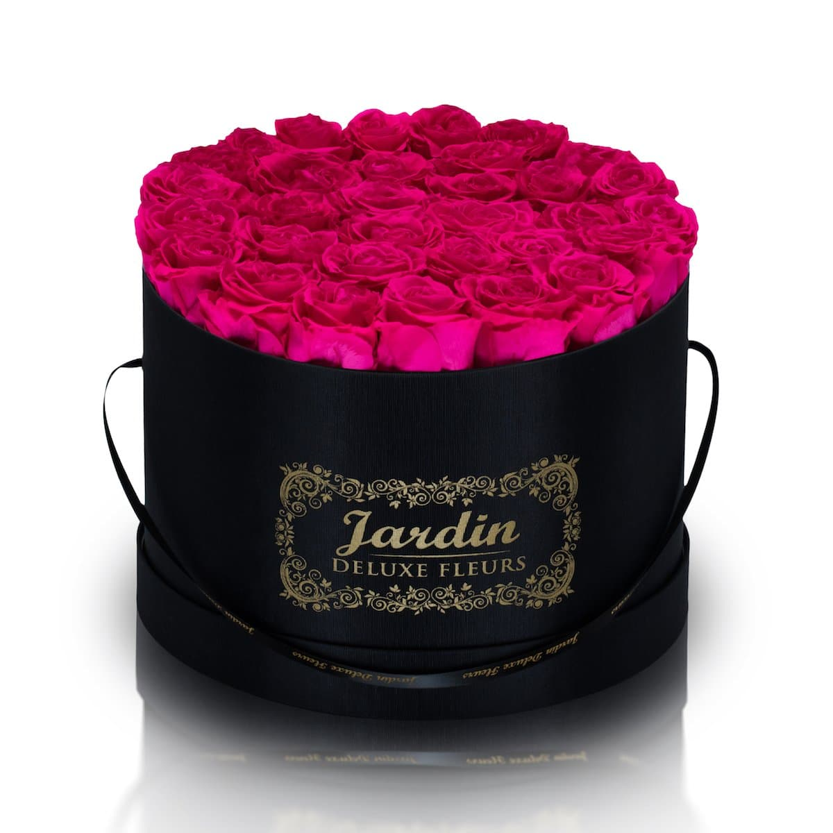 36 Pink Long Lasting Roses in Black Hatbox