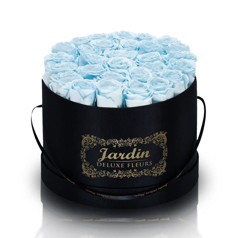 36 Baby Blue Long Lasting Roses in Black Hatbox