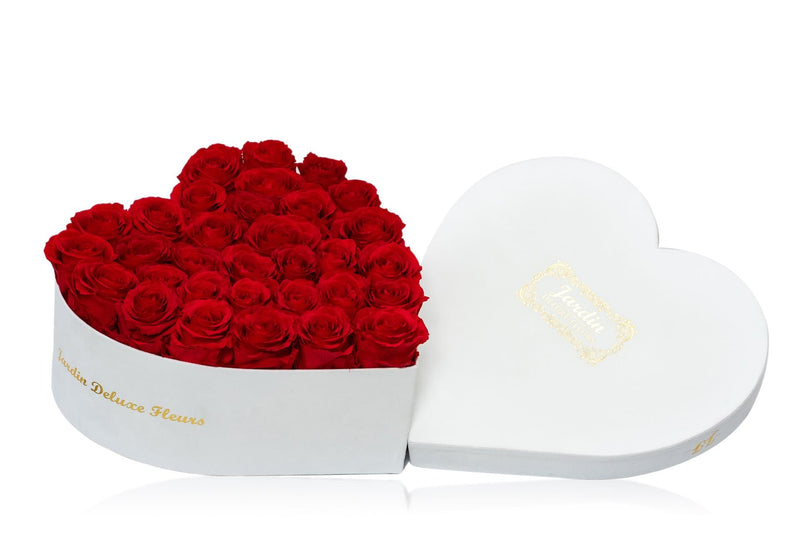 40-45 Long Lasting Roses in White Heart Box