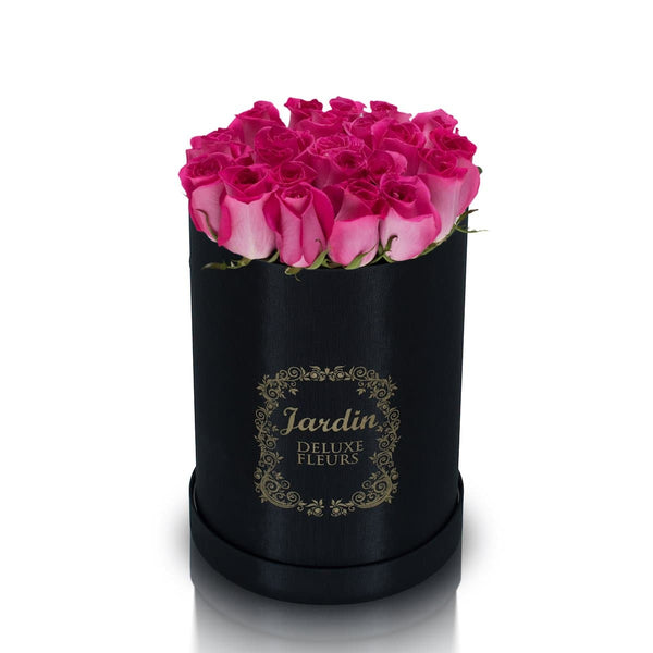 25 Pink Roses & Black Hat Box
