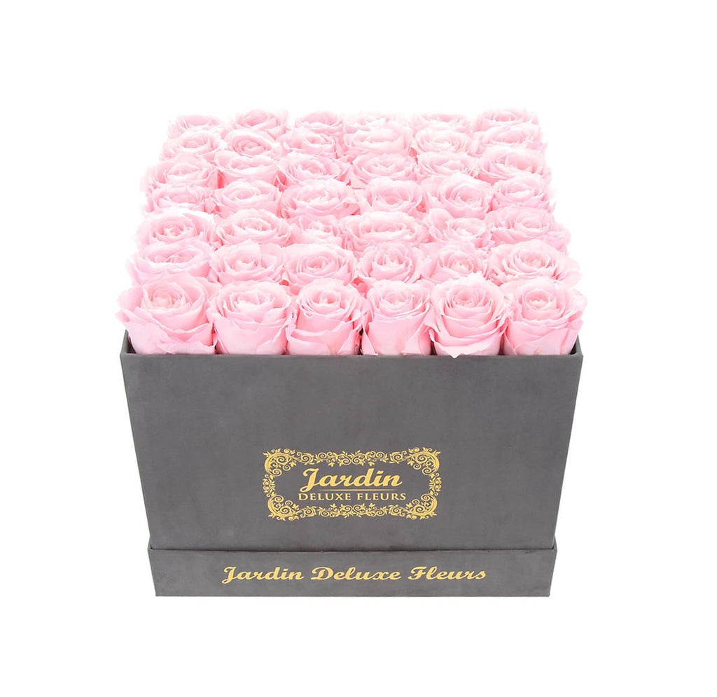 42 Long Lasting Roses in Grey Hatbox